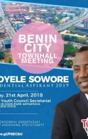 Nigeria Presidential Candidate Sowore to Visit Benin City for a Town-hall Meeting